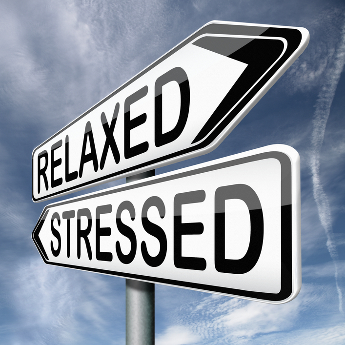 pic of two arrows, one saying stressed and one saying relaxed for your healthy diet plan