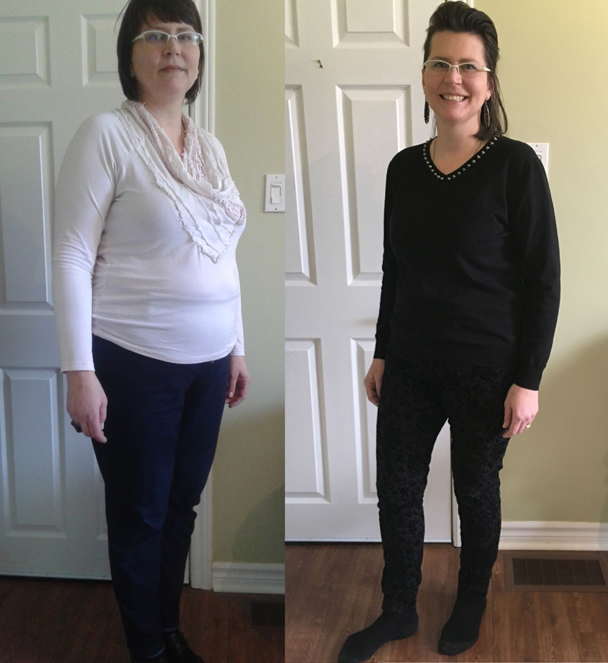 a pic of a before and after weight loss success with the bodytypolgy online weight loss support group