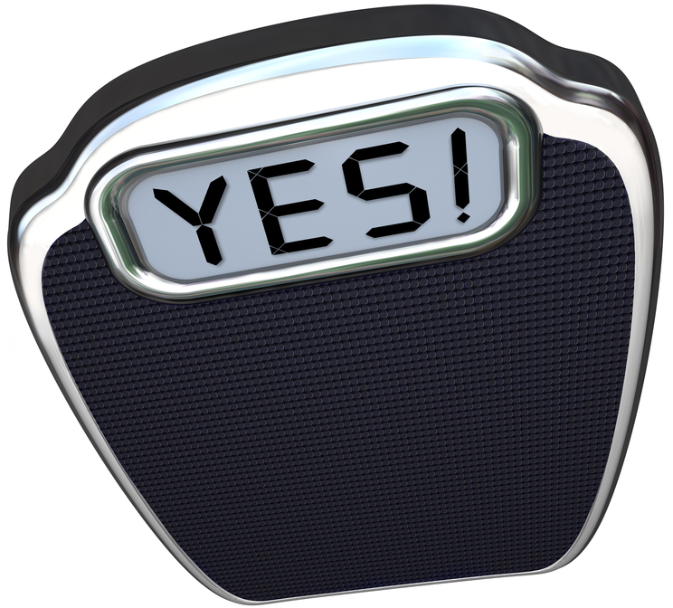 a scale with the word yes on it, what happens when you answer the question, what is my body type